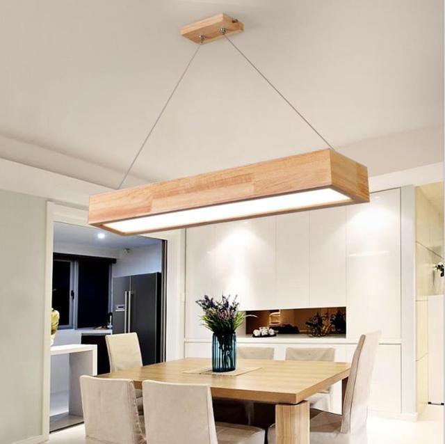 15W/25W/30W LED suspension en bois avec abat-jour acrylique, suspension de Style japonais pour salon salon chambre