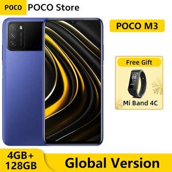 Перейти на Алиэкспресс и купить Смартфон глобальная версия POCO M3, 4 Гб, 128 ГБ, Восьмиядерный процессор Snapdragon 662, ии Тройная камера 48 МП, экран 6,53 дюйма FHD +, Аккумулятор 6000 мАч
