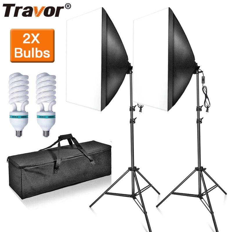 TRAVOR photo studio Kit de caja difusora iluminación con trípode 2M regalo 2 uds E27 bombillas 85W para YouTube video disparo fotografía Soft box