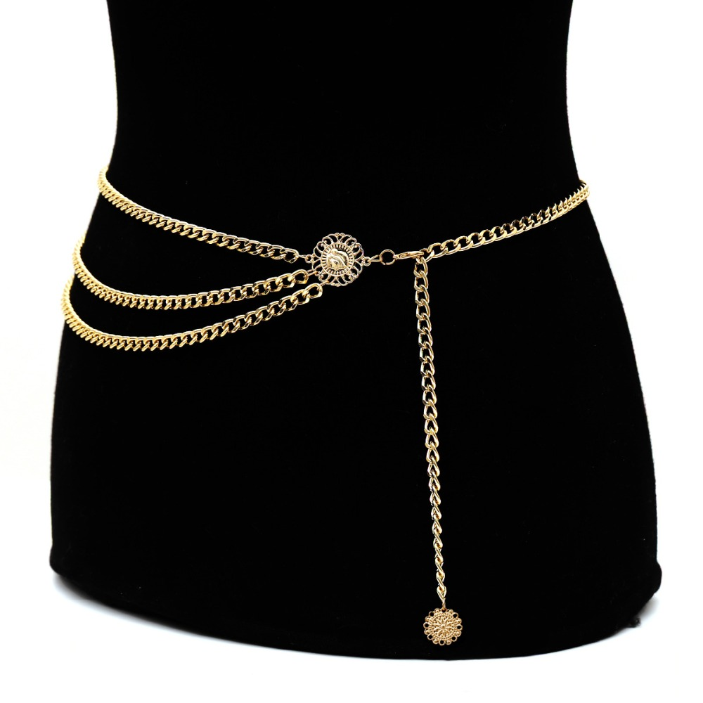 New Women Retro Gold Belts Waistbands All-match Multilayer Long Tassel For Party Jewelry Dress Waist Chain Coin Pendant Belt