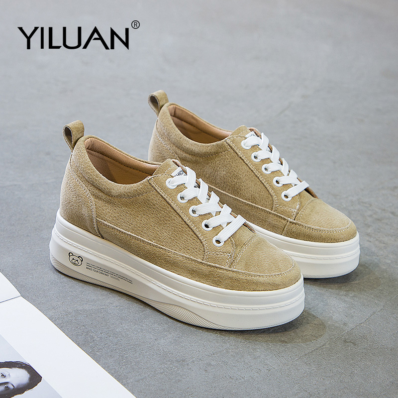 2020 New Leather Girl Casual White Shoes Women Platform Sneakers Brand Female Trainers Thick Bottom Ladies Chunky Footware Black
