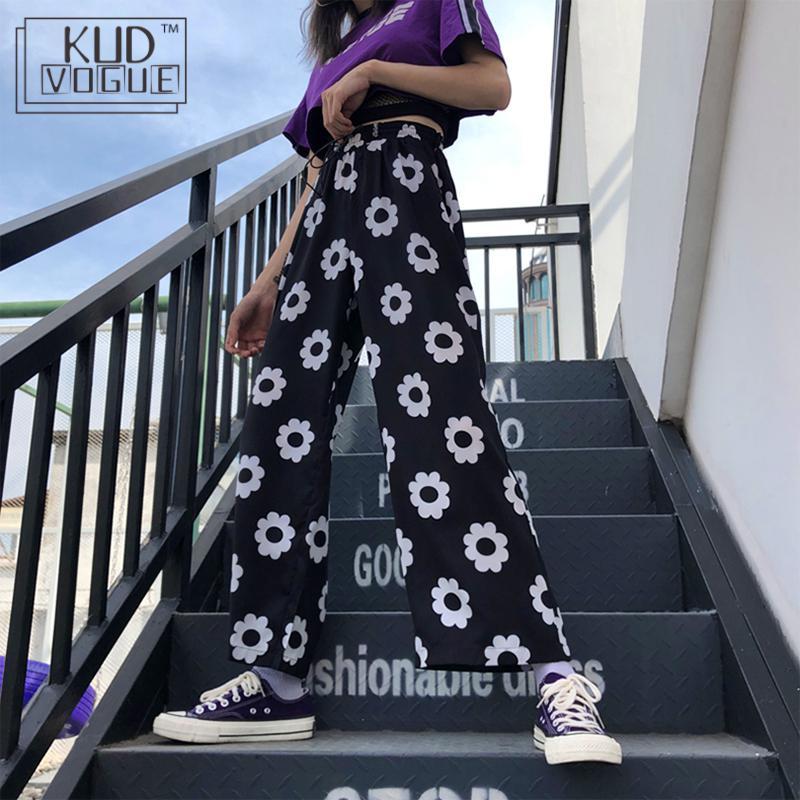 High Waist Loose Woman Pants Hippie Streetwear Daisy Floral Wide Leg Fashion Pants Boho String Summer Korean Harajuku Trouser