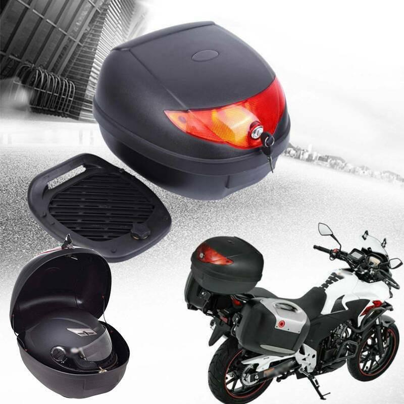Samger 28L Motorcycle Trunk Case Waterproof Motor Top Case For Single Helmet Motorbike Rear Storage Luggage Tool Tail Box Black