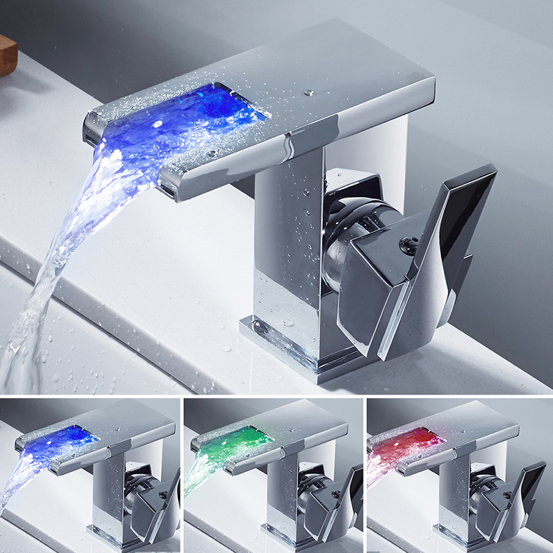 Bathroom Sink Faucet Temperature Sensor Colors Change LED Faucet Cold and Hot Water Mixer Tap Waterfall Single Hole Basin Faucet