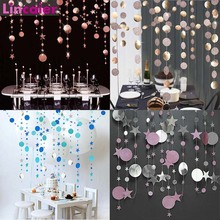 4M Paper Star Round Garland Wedding Decoration Baby Shower Birthday Babyshower Its Boy Girl DIY Hen Bachelorette Party Supplies