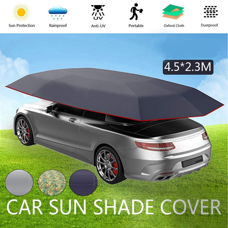 4.5x2.3M New Outdoor Car Vehicle Tent Car Umbrella Sun Shade Cover Oxford Cloth Polyester Covers Without Bracket Silver