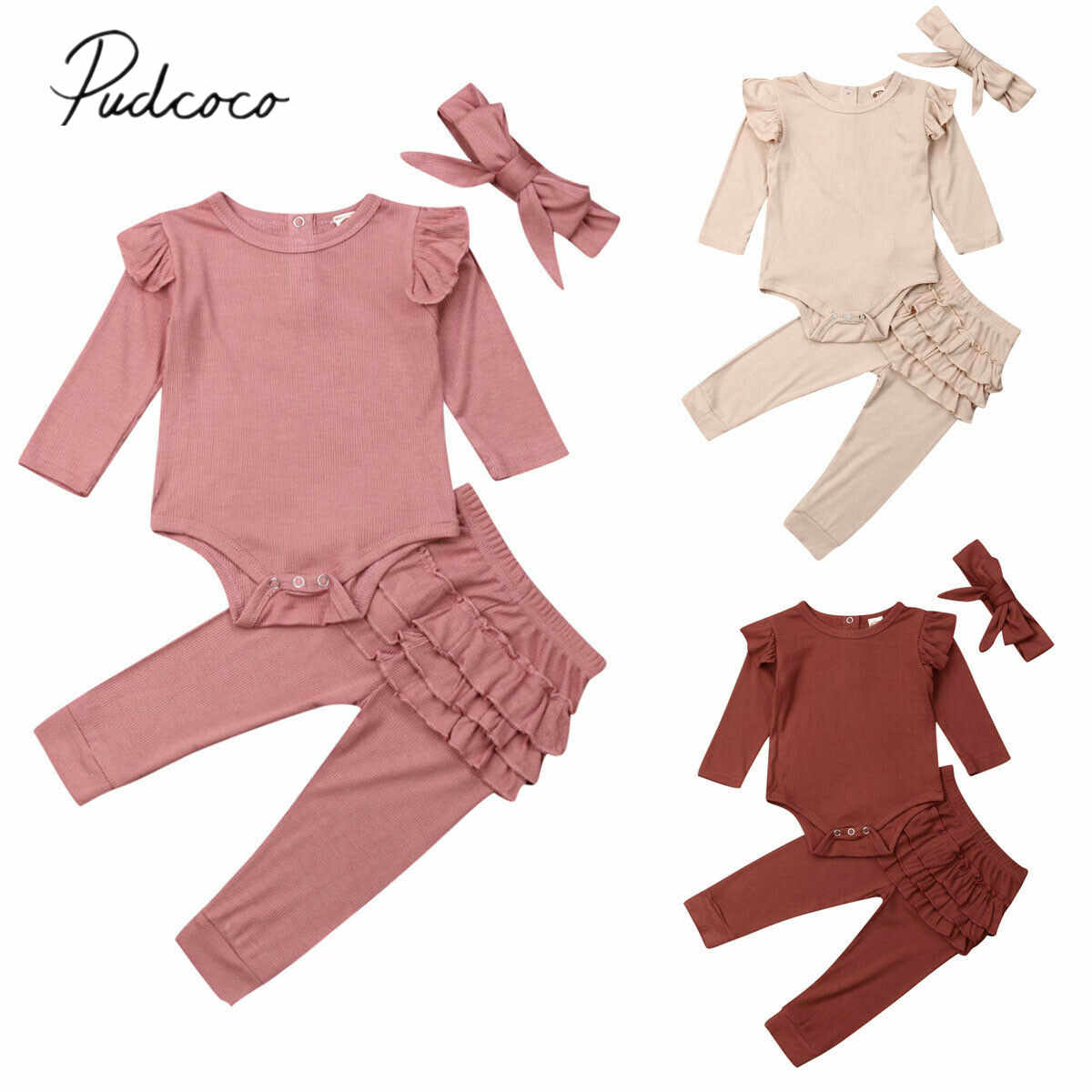 2019 Baby Spring Autumn Clothing Newborn Infant Baby Girl Solid Outfits Ribbed Clothes Romper Top Ruffle Pants Headband 3Pcs Set