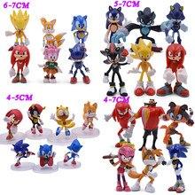 4 stili Sonic Anime Action Figure giocattolo in Pvc Sonic Shadow tail personaggi Figure giocattoli Set regalo per bambini