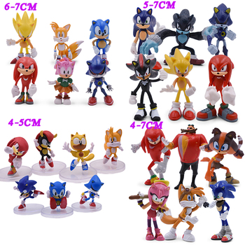 4 Styles Sonic Anime Action Figure Pvc Toy Sonic Shadow Tails Characters Figure Toys Set Gift For Kids недорого