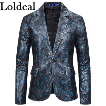 Loldeal Gold Bronzing Blazers Men Suits New Arrival Luxury 3D Snakeskin Print Designer Jacket Blazer Homme Men