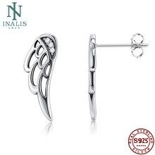 INALIS, настоящее 925 пробы, серебряные, перо, крылья феи, серьги-гвоздики, серебро для женщин, модное серебряное ювелирное изделие на Рождество
