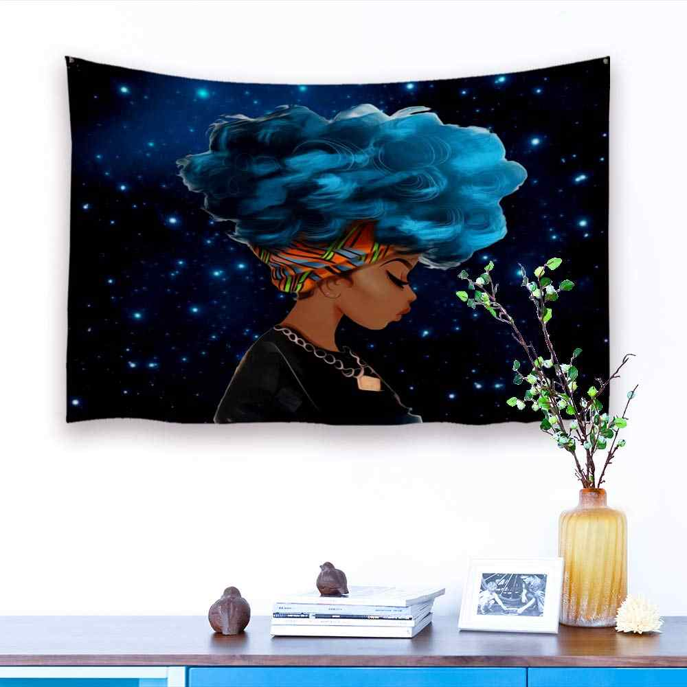 Afro African American Black Girl Tapestry Rock Hip Pop Blue Haired