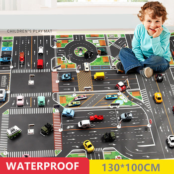 130*100cm large city traffic car park play mat waterproof non-woven kids car playmat toys for children's mat boy car