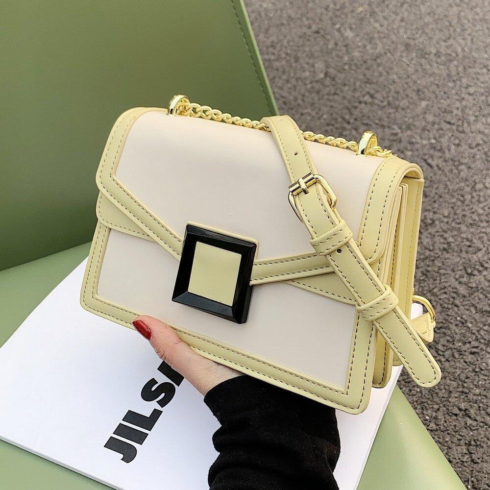 New Women PU Leather Knitting Crossbody Bag High Quality Handbag Ladies Fashion Chains Hasp Multilayer Shoulder Bag