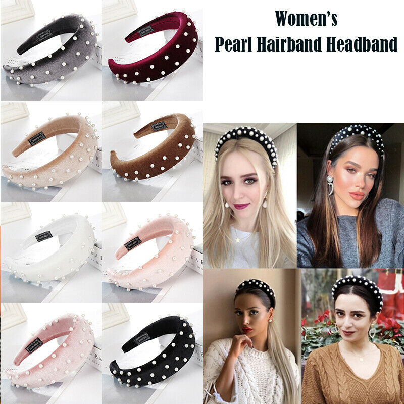 Women's Tie Hairband Headband Twist Wide Pearl Knot Hair Hoop Bands Accessories Fashion Casual Lady Sweet Headwear Hairbands