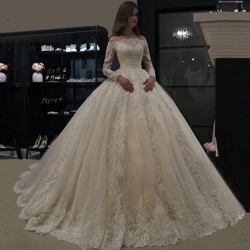 Wedding Dress 2019 Ball Gowns Luxury Lace Applique Long Sleeve Wedding Gowns Robe De Mariee Boat Neck Beaded Bride Dress