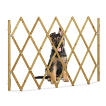 Safety-Gate Fence Barrier Expanding Wooden Bamboo Door Stretchable Cat Swing Pet-Dog