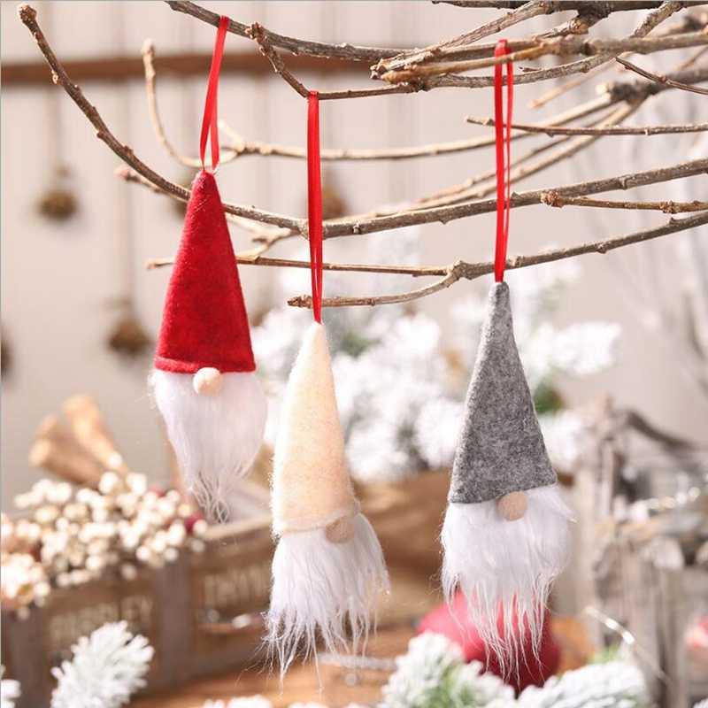 1 piezas 2019 nueva muñeca de Navidad sin rostro pequeño colgante botella de vino set cubierta de botella de vino decoración de árbol de Navidad diseño de escena