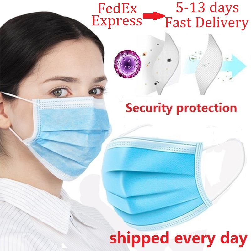 30pcs/50pcs/100pcs Lot Disposable Masks Soft 3-layer Non-Woven Masks Anti Dust Mouth Face Mask Protective Factory Wholesale