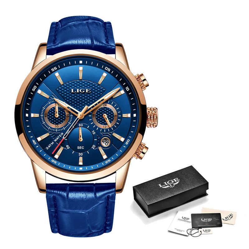 2019 חדש Mens שעונים ליגע למעלה מותג יוקרה עור מקרית קוורץ שעון גברים ספורט עמיד למים שעון כחול שעון Relogio Masculino