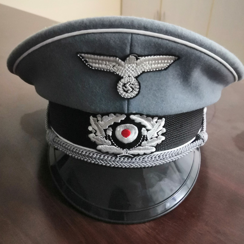 WW2 WWII GERMAN WH M36 OFFICER WOOL CRUSHER HAT MILITARY VISOR CAP SIZE M