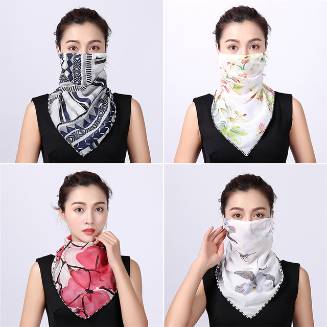 Women Chiffon Mask Scarf Face Mascarillas Wraps Floral Print Lady Silk Neck Scarves Foulard Bandana Reusable Masks Sun Protect 2