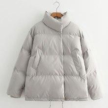 Зимняя короткая хлопковая куртка для женщин, утолщенная теплая однотонная женская куртка с воротником-стойкой размера плюс, Повседневная Корейская женская куртка на пуговицах