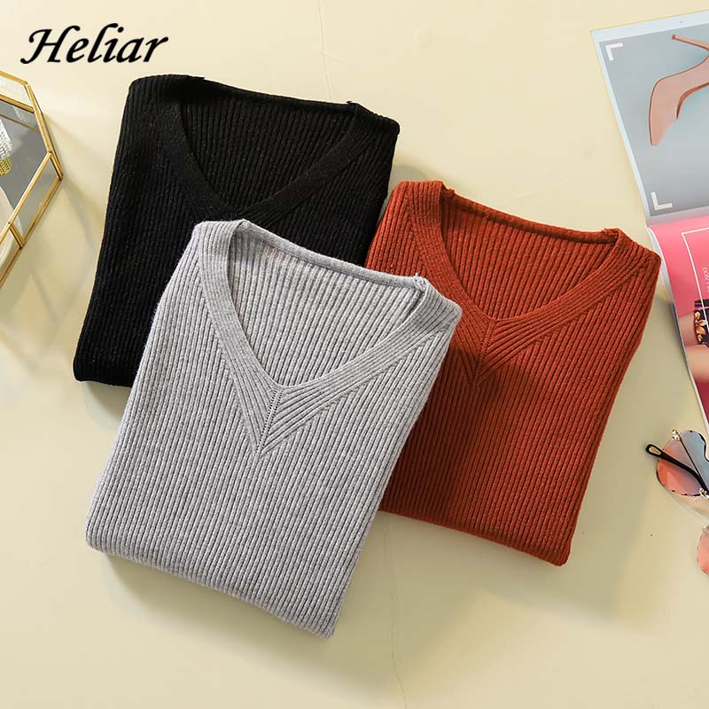 Heliar Female V-Neck Solid Plain Fall Sweater Women Casual Knitting Sweater Women Casual Thin Pullovers 2019 Autumn Sweater