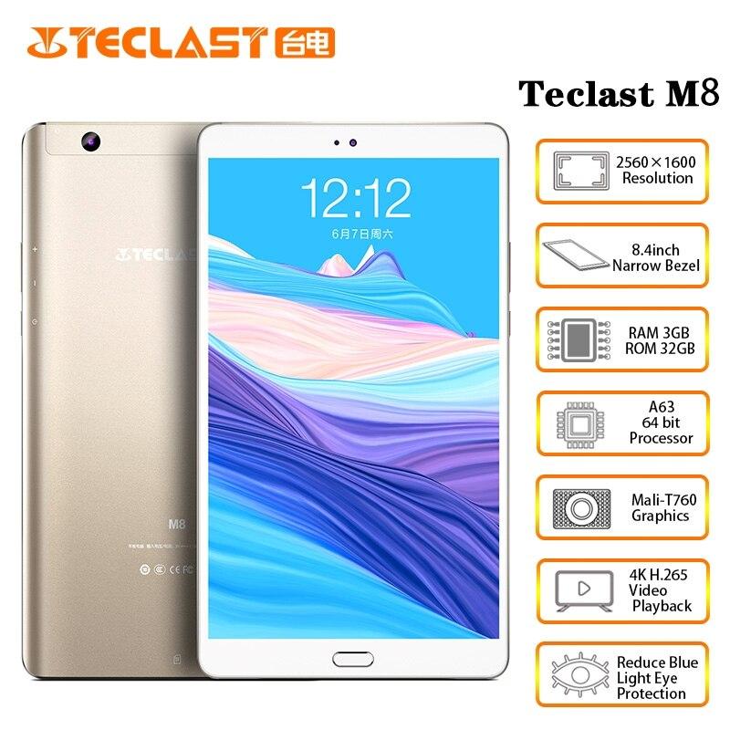 Teclast M8 8.4 Inch 2560x1600 Allwinner A63 Quad Core Android Tablet 4K Video Tablets 3GB RAM 32GB ROM Wifi GPS Dual Camera