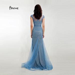 Image 2 - Akşam elbise zarif Mermaid 2020 gölgeli mavi Sparkly malzeme O boyun kap kollu tam boncuklu resmi kadın elbise Finove