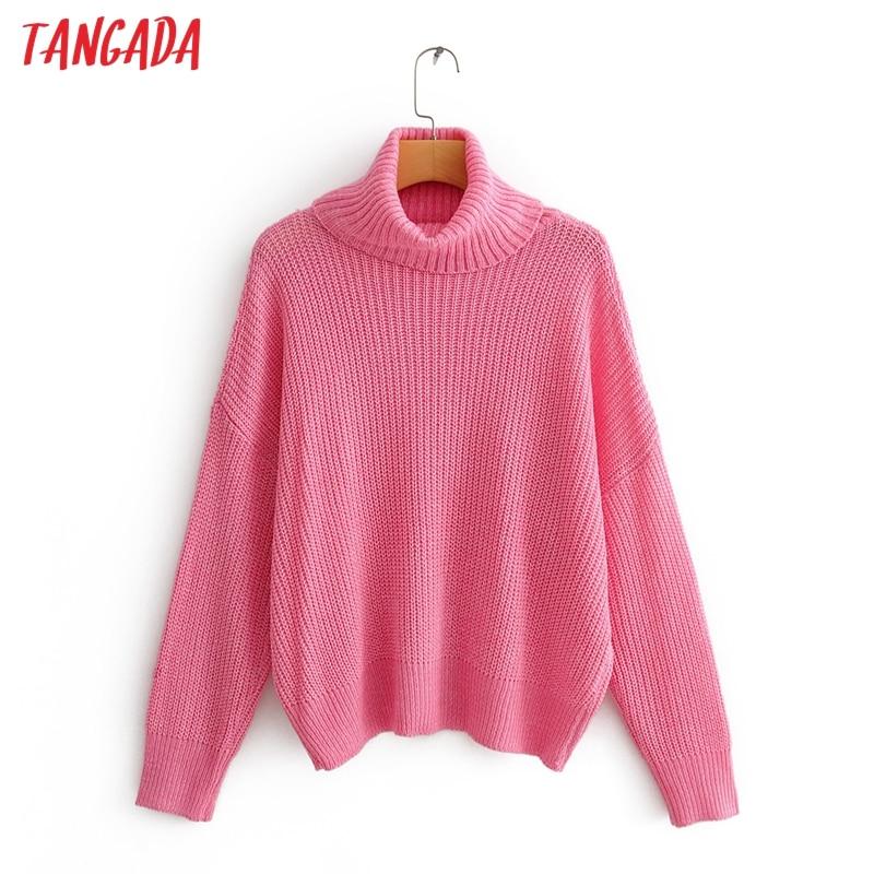 Tangada Autumn Winter Fashion Women Turtleneck Sweater Oversize Loose Long Sleeve Pink Jumper Sweater Ladies Pull QJ146