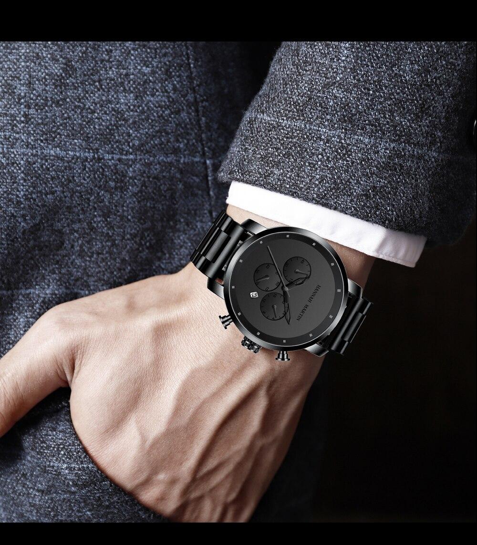 Ha48b236862ac4b8dbf28179975b7aa82p DropShipping Big Dial 45mm Full Black Stainless Steel Multi-function Calendar Men's Top Brand Luxury Watches Relogio Masculino