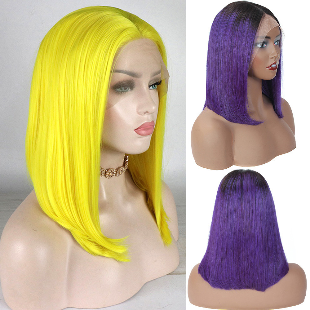 Bob Synthetic Lace Front Wig Straight Hair 14 Inch Lace Wigs 13*4 For Black Women Ombre Pulple Hair Synthetic Lace Front Wig