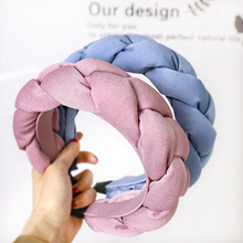 Winter Warm Wide Crown Padded Braided Hairband Women Bezel Braids Headband Twist Thick Velvet Headwrap Hair Accessories
