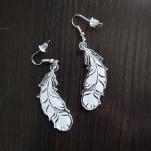 White Feather Drop Earrings Acrylic Long Geometric Female Dangle Personality Fashion Jewelry