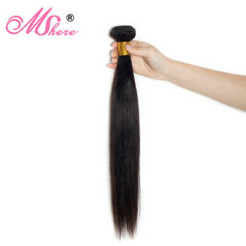 Malaysian Straight Human Hair Weave Bundles Non Remy Hair Extension Natural Black 1B# Can Be Dyed Bleached Mshere Hair - DISCOUNT ITEM  53% OFF All Category
