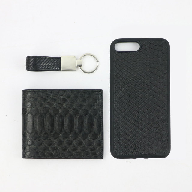Personalized letters 100% Luxury Genuine Snake Leather Business Gift Set Wallet Coin Purse New Phone Case Keychain Drop Shipping
