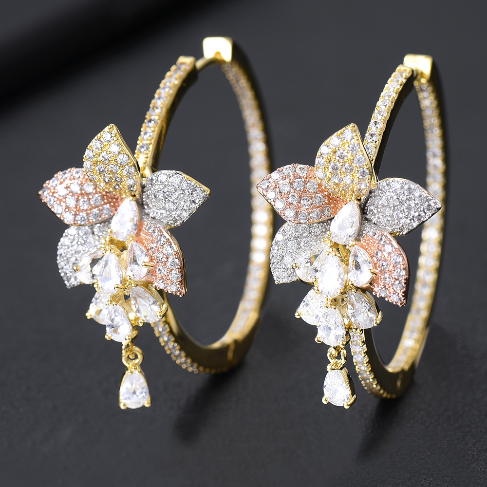 GODKI Luxury 3 Tone <font><b>Flower</b></font> Tassel Drop Cubic Zircon <font><b>Statement</b></font> Big Hoop <font><b>Earrings</b></font> <font><b>For</b></font> <font><b>Women</b></font> Wedding DUBAI Bridal Hoop <font><b>Earring</b></font> <font><b>2019</b></font> image
