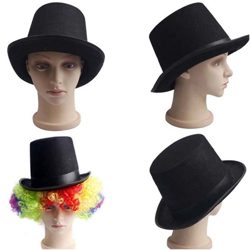 1Pc Men Women Retro Magician Black Jazz Cap Halloween Felt Top Hat DIY Steampunk Masquerade Dress Up Party Cosplay Costume Props