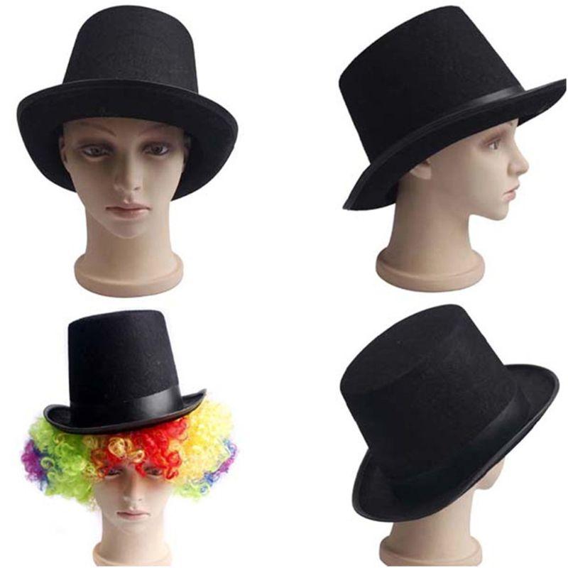 1Pc Men Women Retro Magician Black Jazz Cap Halloween Felt Top Hat DIY Steampunk Masquerade Dress Up Party Cosplay Costume Props