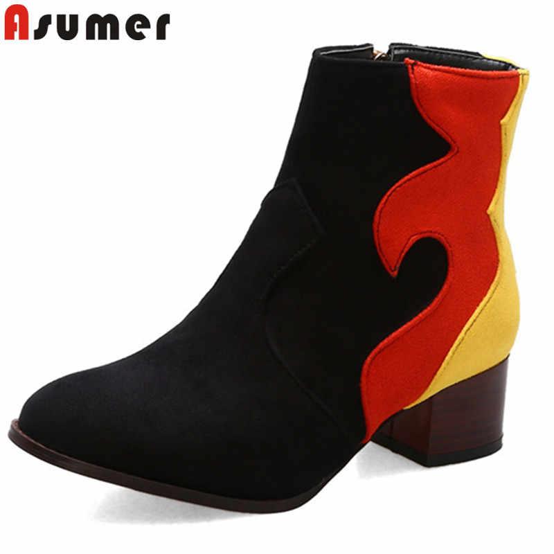 ASUMER 2020 yeni yarım çizmeler kadınlar için yuvarlak ayak karışık renkler sonbahar kış çizmeler kare topuklu bayanlar balo çizmeler büyük boy 34-43