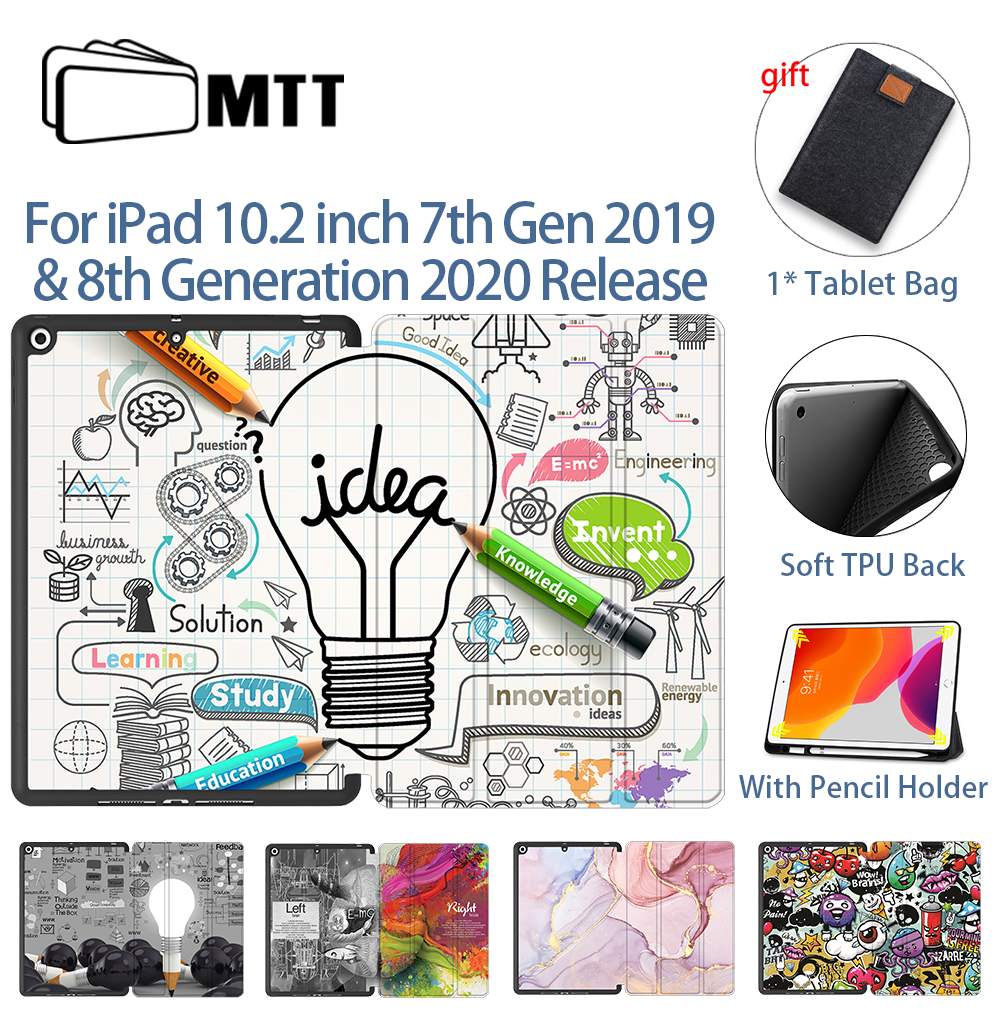 MTT Case For iPad 10 2 inch 7th 8th Generation 2020 Soft TPU PU Leather Flip