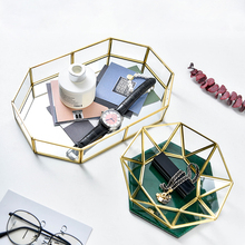Glass Makeup Storage Tray Golden Polygon Geometry Baskets Box Desktop Small Items Jewelry Necklace Plate Display