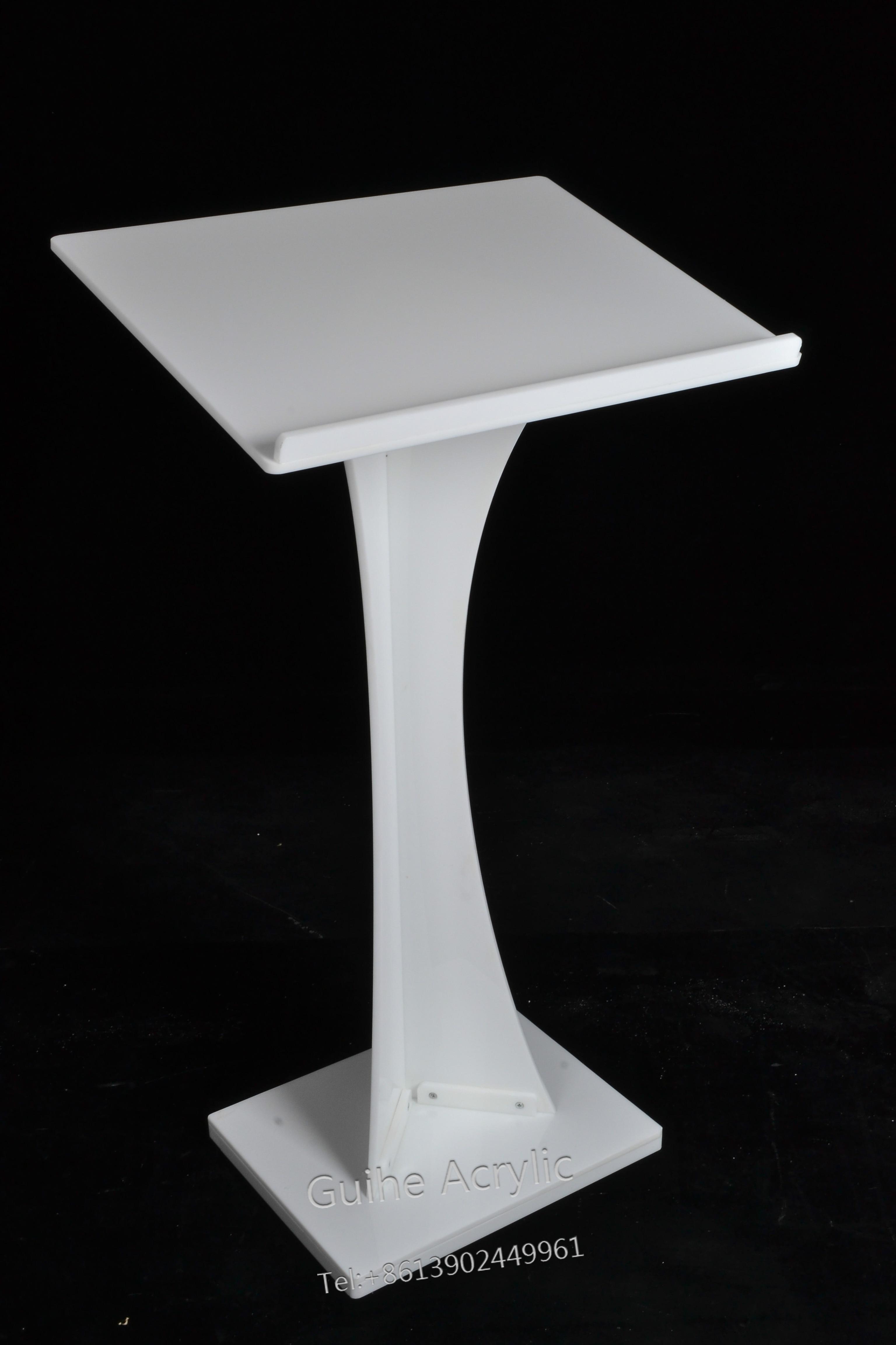 GUIHEYUN White Acrylic Stand Up Lecture Business Church Podium Lectern
