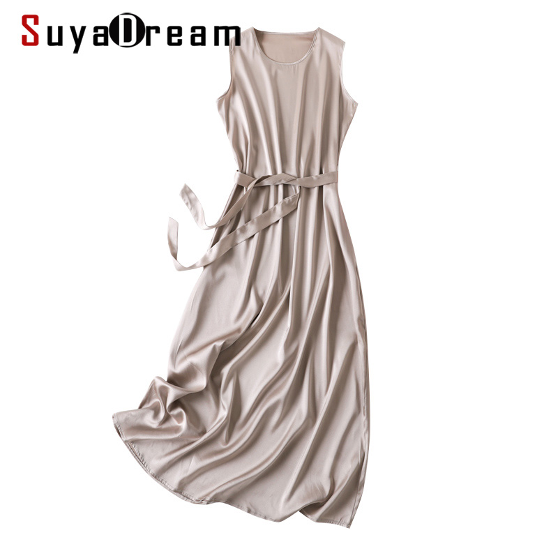 SD Women Long Dress 93%Silk 7%Spandex Solid A Line Sleeveless Belted Dresses 2020 Spring Summer New