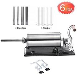 Embutidor de salchichas casero de 6 libras/3 kg, máquina de llenado de salchichas de acero inoxidable, jeringa de salchichas, máquina de llenado de carne, fabricante de salchichas