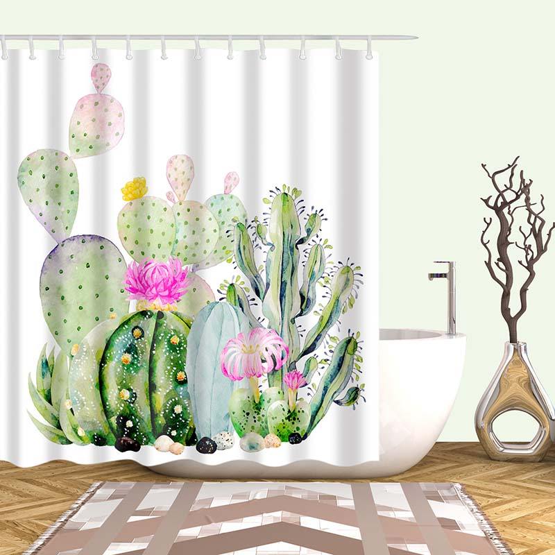 Тропический кактус, занавеска для душа, полиэфирная ткань, занавеска для ванной комнаты, украшения для ванной комнаты, мульти-размер, занавеска для душа с принтом s - Цвет: 10
