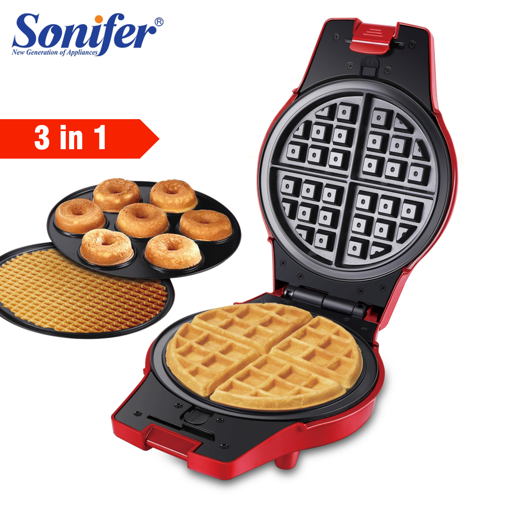 3 In 1Electric Waffle Maker Iron Sandwich Machine Non-Stick Pan Bubble Egg Cake Oven Household Breakfast Waffle Machine Sonifer