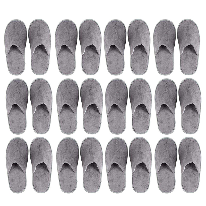 JHD-12-Pairs Disposable Slippers, Great For Hotel, Spa, Nail Salon Use-Non-Slip-Grey-Fits Up To US Men's Size 11 And US Women's