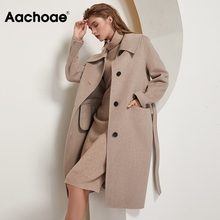 Wool-Coat Aachoae Women Collar Autumn Long Winter Single-Breasted Solid with Belt Ladies